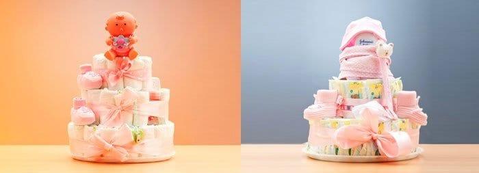 Торт из подгузников в подарок новорожденной девочке