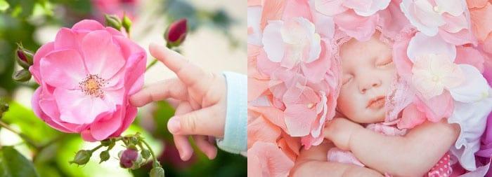 Новорожденная девочка и цветы
