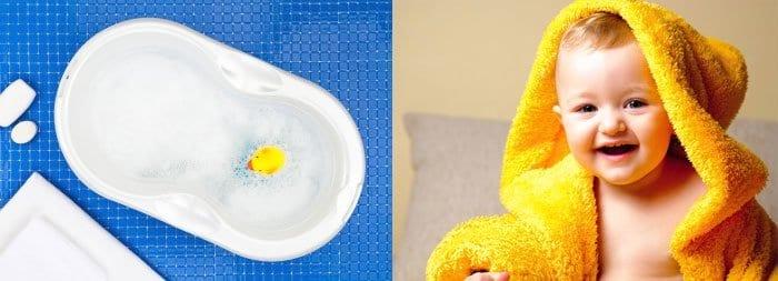 Ванночка для купания, малыш в банном халате