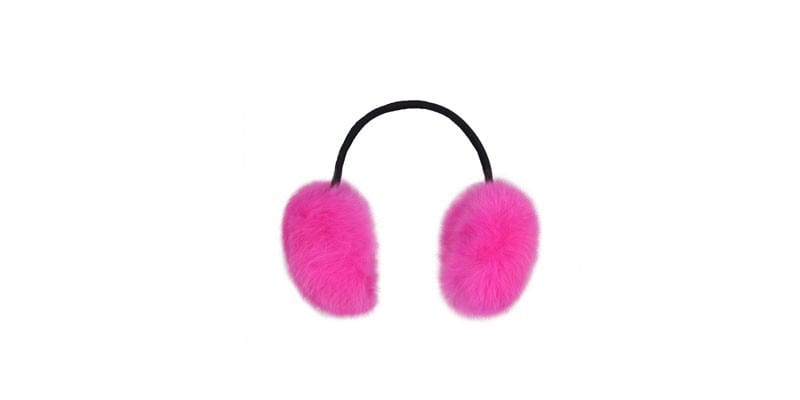 Розовые меховые наушники MiliLook