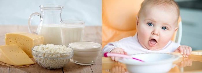 Молочные продукты и малыш в стульчике для кормления