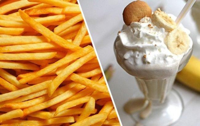 Картошка фри и молочный коктейль