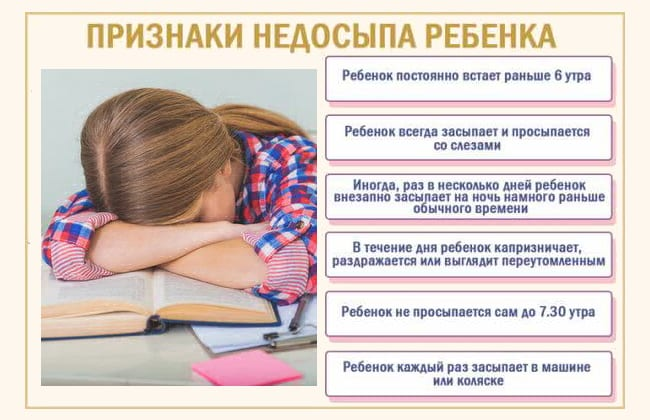 Признаки недосыпа у ребенка