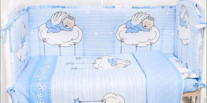Комплект постельного белья для новорожденного Ангелочки