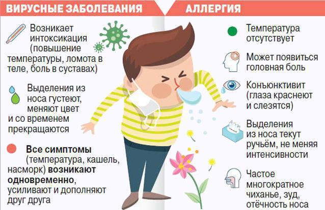 Отличие симптомов аллергии от простуды
