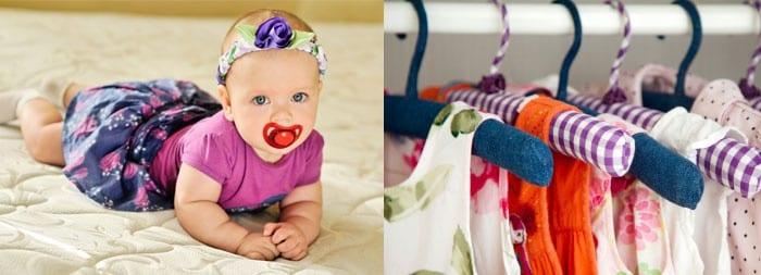 Маленькая девочка и одежда на вешалках