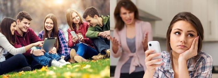 Подростки с гаджетами