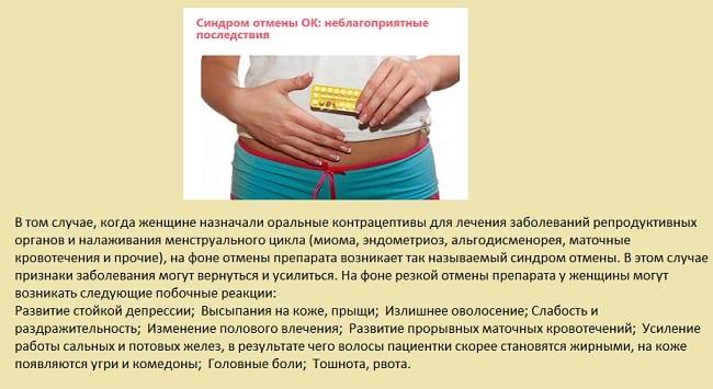 Последствия отмены противозачаточных средств