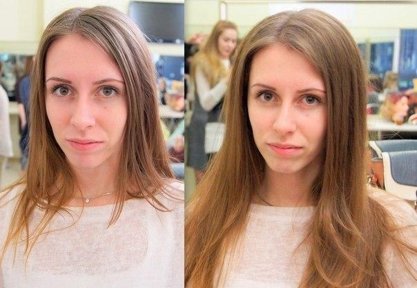 Волосы до и после применения мусса для объема