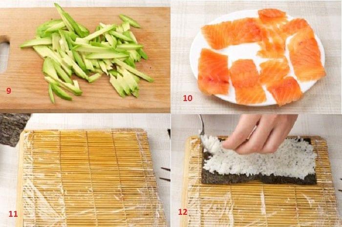 Приготовление роллов с лососем и авокадо