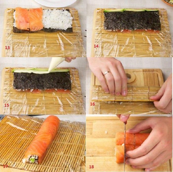 Приготовление роллов с лососем