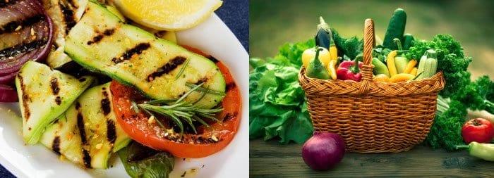 Овощи-гриль, корзина со свежими овощами