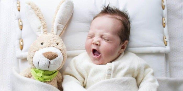 Ребенок спит с игрушечным зайцем