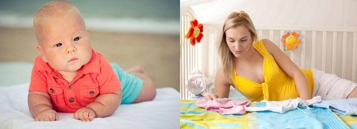 Ребенок и женщина, разбирающая детские вещи