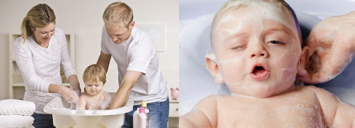 Купание ребенка в ванночке