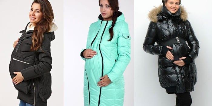 Беременные девушки в зимних пуховиках