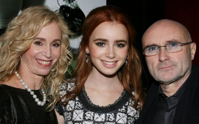 Лили Коллинз с мамой и папой