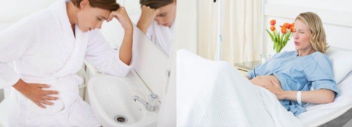 Беременные женщины держатся за животы