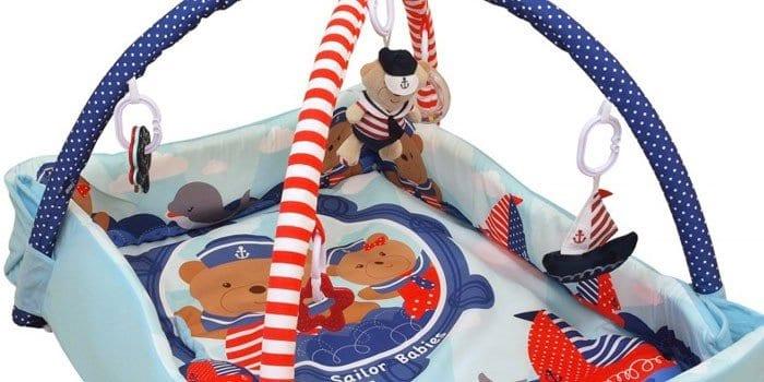 Развивающий коврик с бортиками Baby Mix Мишка на волнах