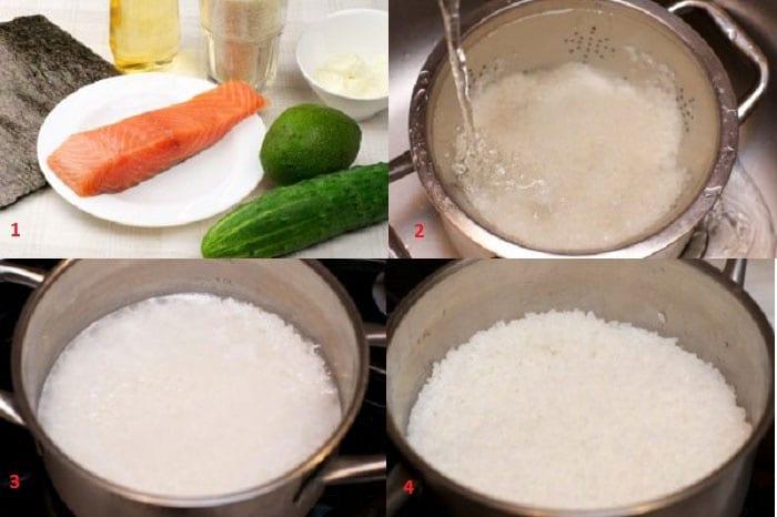 Ингредиенты для роллов с лососем