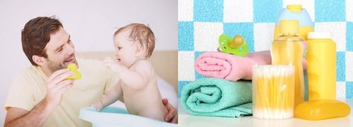 Средства для купания малыша, ребенок в ванночке и мужчина