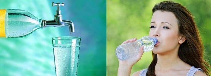 Девушка пьет воду, кран и стакан