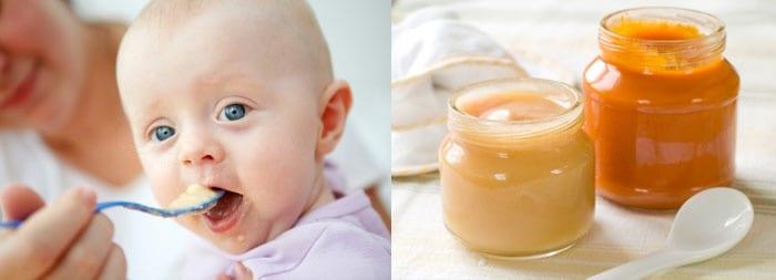 Малыш ест, баночки с детским питанием