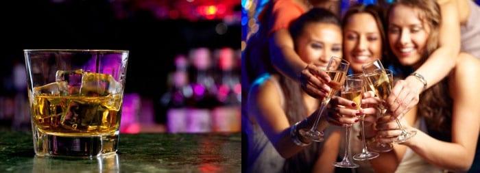 Алкоголь в стакане, девушки с бокалами шампанского