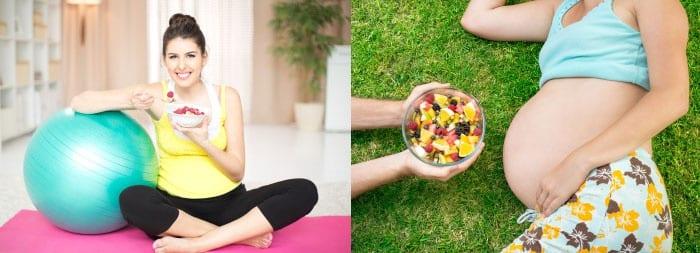 Беременная девушка с фитболом и фруктовым салатом