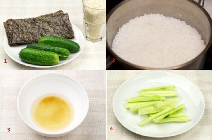 Нори, огурцы и рис для роллов