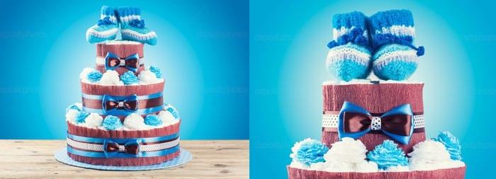 Торт из подгузников для новорожденного