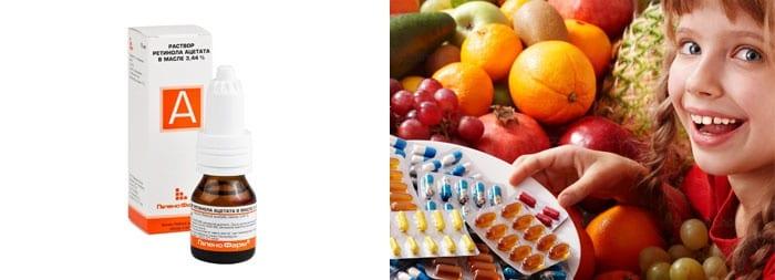 Витамин А, девочка фрукты и препараты