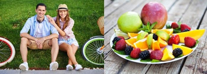 Мужчина и женщина с велосипедами, фруктовый салат