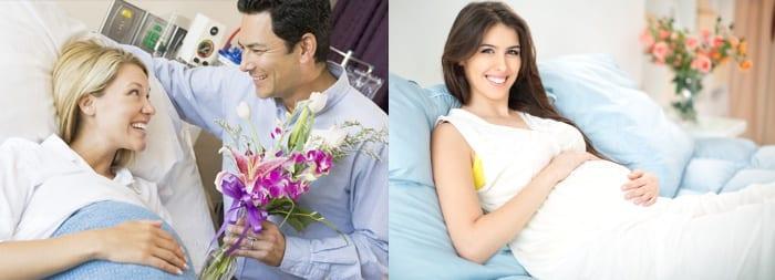 Беременные женщины и мужчина с цветами