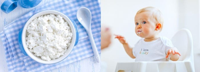 Творок в тарелке, малыш в стульчике для кормления