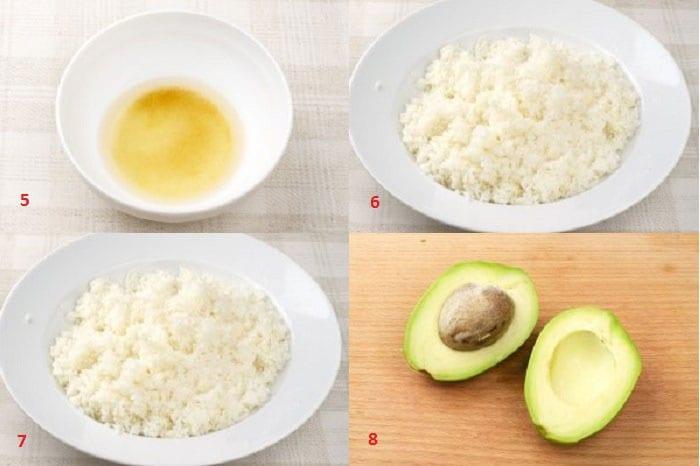 Вареный рис и авокадо