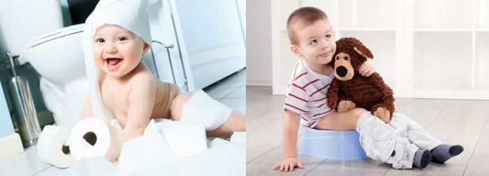 Малыш с туалетной бумагой и мальчик на горшке