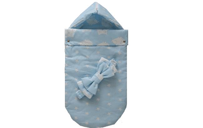 Синий конверт, принт звезды