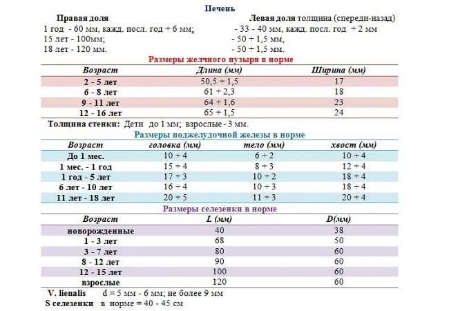Показатели УЗИ печени в норме