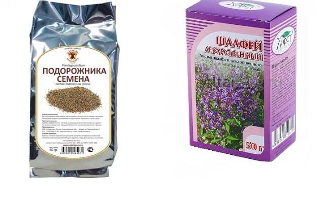 Шалфей и семена подорожника
