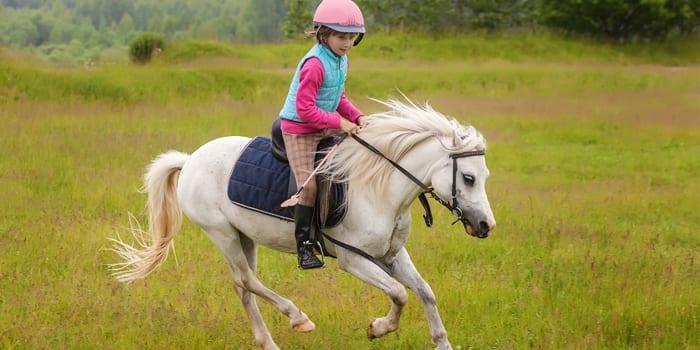 Девочка скачет на лошади