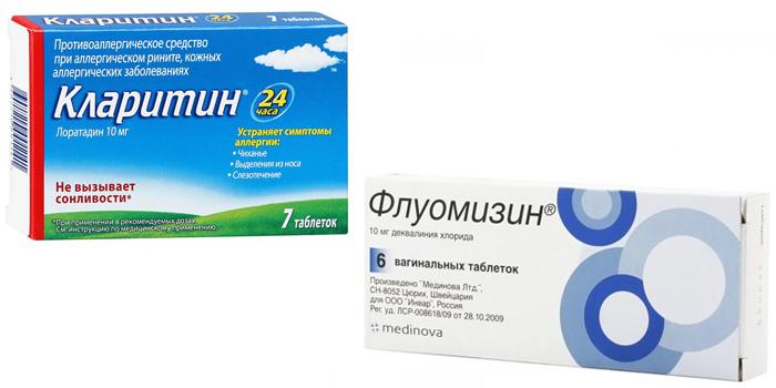 Таблетки Флуомизин и Кларитин