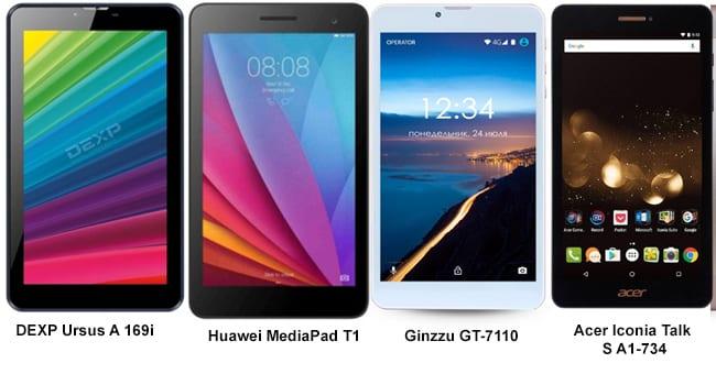 Модели от Huawei, Ginzzu, Acer, Dexp