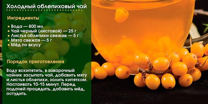 Рецепт холодного облепихового чая с мятой