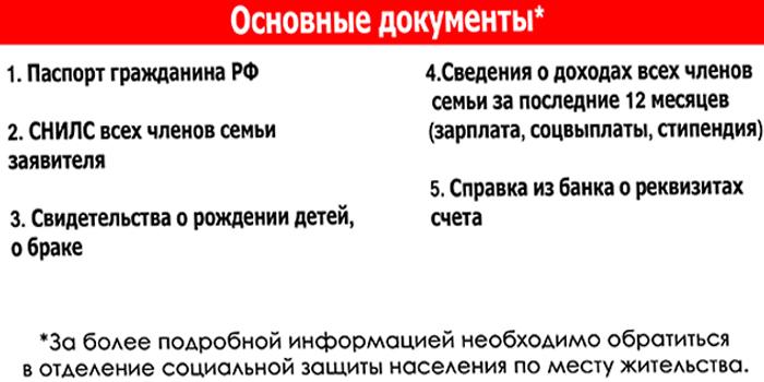 Основные документы для оформления