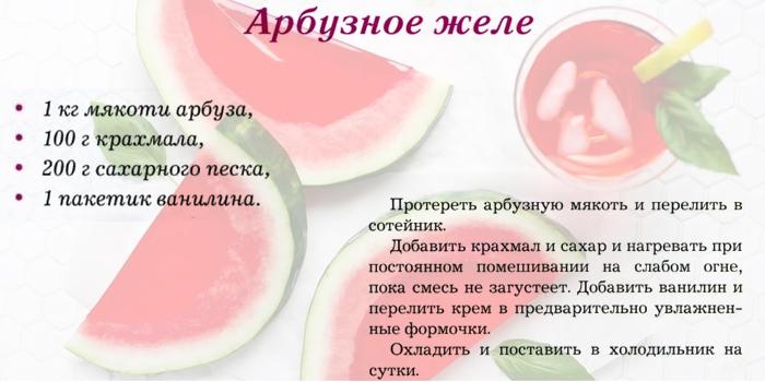 Рецепт арбузного желе