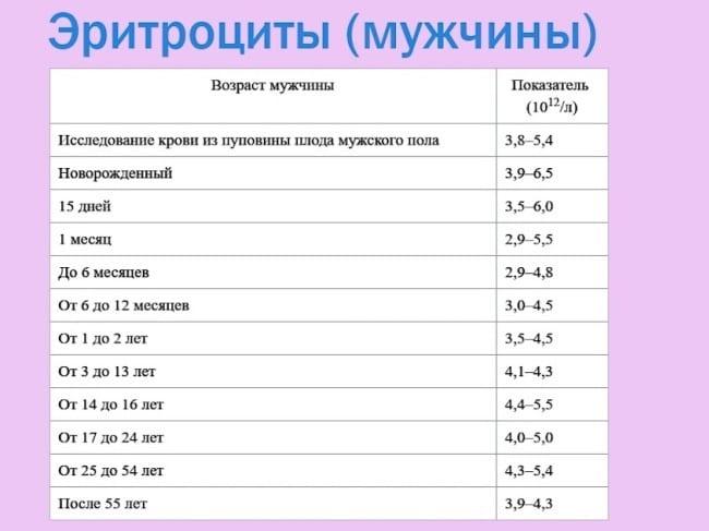 Эритроциты - норма у мужчин