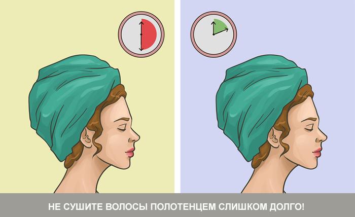Сколько времени нужно сушить волосы полотенцем