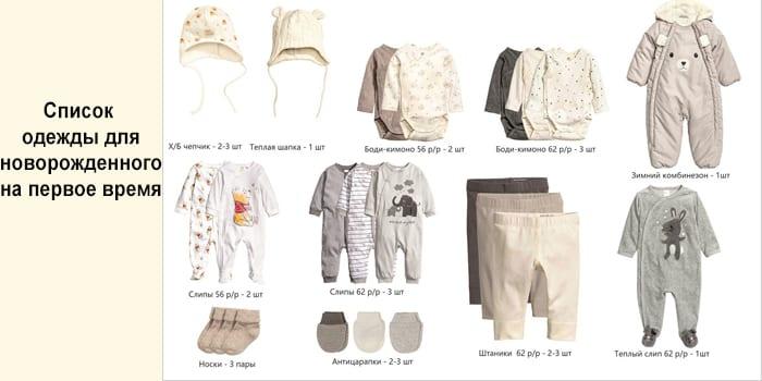 Список одежды для новорожденного на первое время